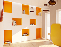 Kids room in yellow