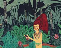 Sierva María en el bosque con unas uvas
