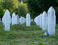In Srebrenica Genocide Memorial: flags at half-mast