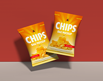Free Chips Bag Mockup PSD Vol 2