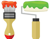 Two brushes with red and green paint vector image.