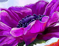 Wallpaper for the walls. Anemones.