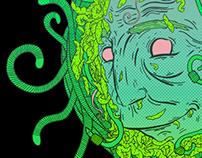 Worm head, green face.