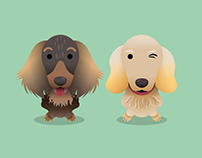 "Dogs Illustration ""Dolly and Chanty"""