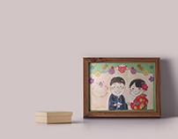 manga style portraits & welcome board for wedding