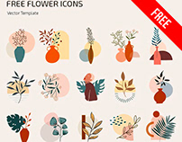 Free Flower Icons Template IN PSD + Vector