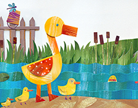 "Illustration ""Ducks in the pond"""