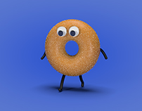 Cinema 4d practice - Googly eyed walking donut