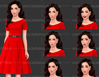 Woman in Red Dress (Set of Emotions)