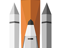 Flat space shuttle illustration