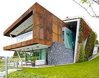 Villa Jewel Box with an multifaceted garden outer shell