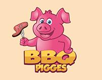 BBQ Pigges Cartoon Logo Design