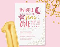 Twinkle Twinkle Little Star Themed Invitation