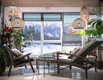 Winter garden for wooden house