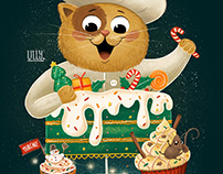 Cat cooking Christmas cakes