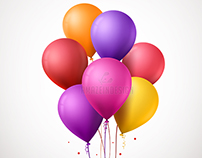 Realistic Colorful Balloons Vector Illustration