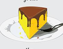 Yellow cake from the Motherland tee shirt design