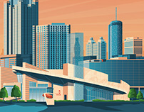 Atlanta USA Retro Travel Poster Illustration
