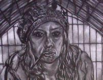 Self-Portrait, 2011. Charcoal.
