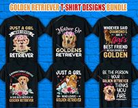 Golden Retriever T Shirt Design Bundle