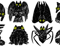 Halloween Critters Spot Illustrations
