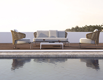 Terrace pool exterior furniture 3d render