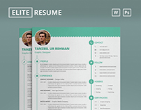 Elite Resume/CV and Business Card - MS Word & Photoshop