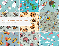 Set of color seamless vector patterns.