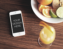 iPhone with Fruit Tray Mockup - Free PSD