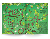 """Green is good"" lettering"