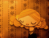Girl, with wallpaper