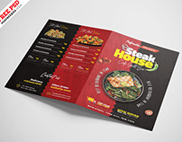 Bi-Fold Square Food Menu Brochure PSD