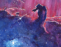 Watercolor nebulas and space paintings