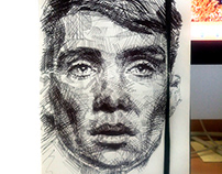 Cillian Murphy black biro drawing