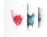 Серия новогодних открыток, посвященных году петуха 2017