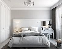 White classics. Artictic Bedroom Interior. 3D Renderig