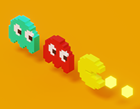 Pacman Voxel Art