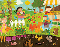 Fruits and veggies giant floor puzzle