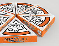 Mock Up Template: Pizza by the Slice Box Packaging