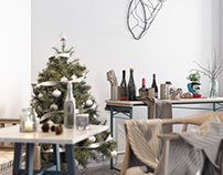 Christmas is soon!!! Scandinavian Kitchen render