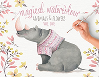 Magical watercolour animals & flowers: vol 1