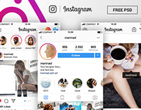FREE Instagram Complete Feed and Profile PSD UI