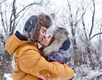 Loving couple of teenagers. Winter