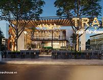 Thiết kế thi công quán cafe sân vườn đơn giản 10x13m