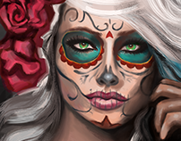 Learning to Paint in Photoshop -- Dia De Muertos
