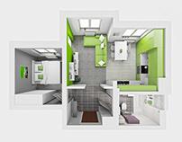42 Square Meter Clean Flat Interior