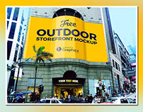 Free Outdoor Storefront Advertising Mock-Up PSD
