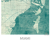Miami, US, Blue vintage watercolor.