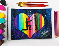 Galaxy love proposal - watercolour painting