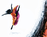 modern dance by girl abstract -  digital painting